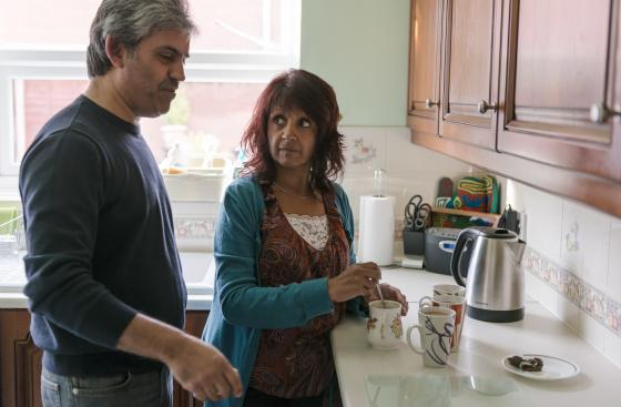 Koki at home with her husband