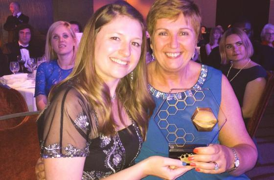 Charlotte Jackson, Head of Editorial and Creative Services and Fiona Barrett, Education Delivery Manager with the Education and Training award at the Charity Awards 2015