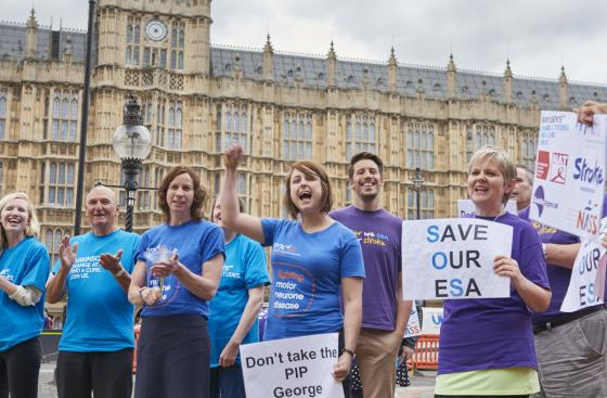 Parkinson's UK Protest at Houses of Parliament on budget day to save ESA.