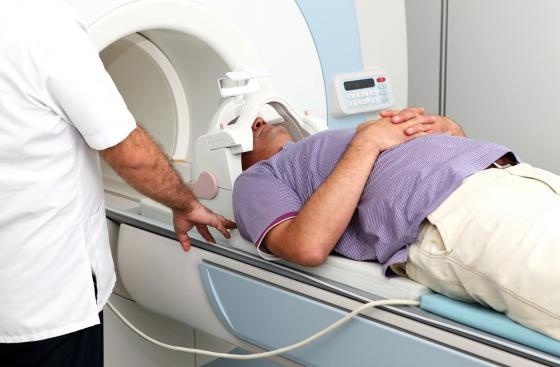Man in an MRI scanner
