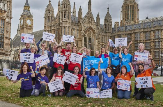 arkinson's UK Protest at Houses of Parliament on budget day to save ESA
