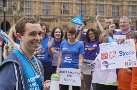 Parkinson's UK Protest at Houses of Parliament on budget day to save ESA