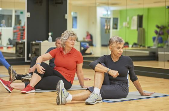 People doing floor exercises at Parkinson's exercise class
