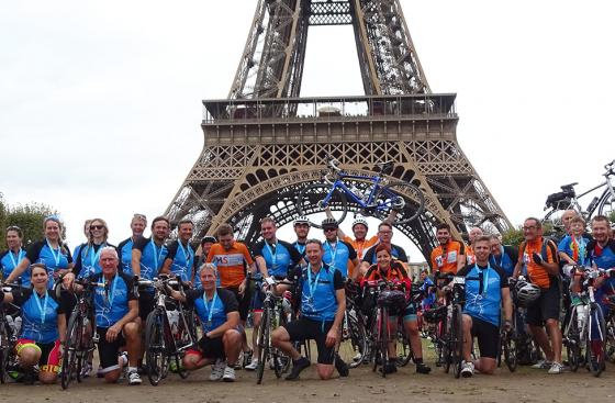 London to Paris cycle ride at the Eiffel Tower