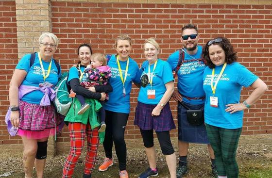 Parkinson's UK supporters taking part in the Kiltwalk