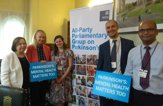 Baroness Gale and Liz McInnes MP with professionals at the All Party Parliamentary Group on Parkinson's meeting