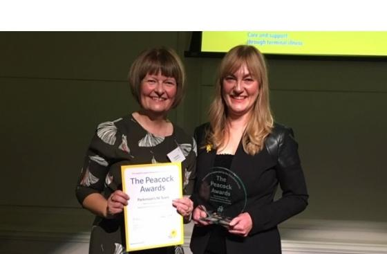 Anne Donnelly, from Parkinson's UK, and Mary Armstrong, from Marie Curie, show off their Peacock awards