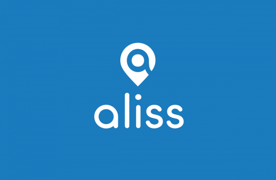 A small location peg, with a search icon inside, underneath it reads aliss