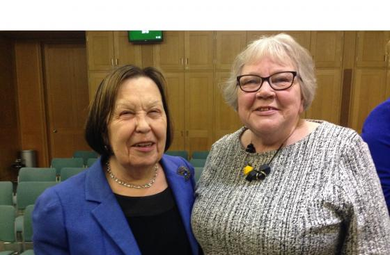 Baroness Gale, Co-Chair of the All-Party Parliamentary Group for Parkinson's, and Barbara Deering, a carer and member of Parkinson's UK Policy Panel, in parliament
