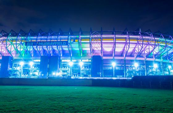 BT Murrayfield stadium, lit up blue for Light up Scotland
