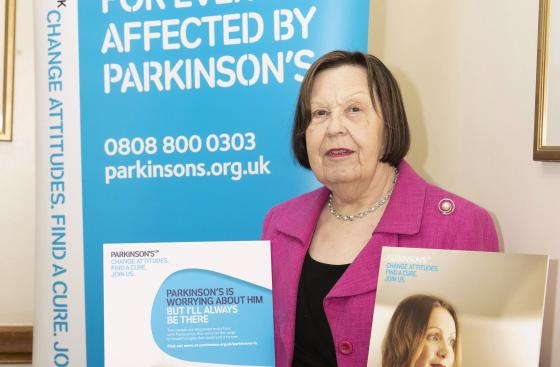 Baroness Gale with our Parkinson's Is campaign posters
