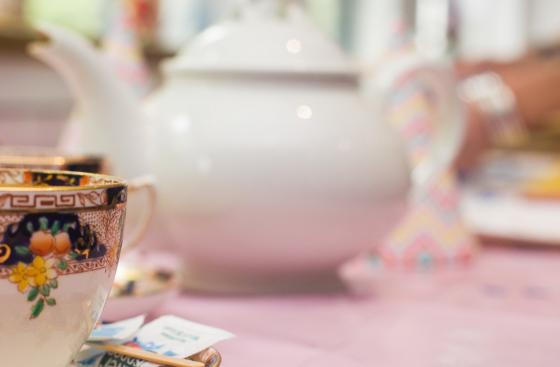 A china teacup and teapot