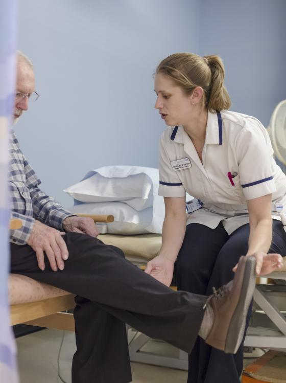A person with Parkinson's having physiotherapy