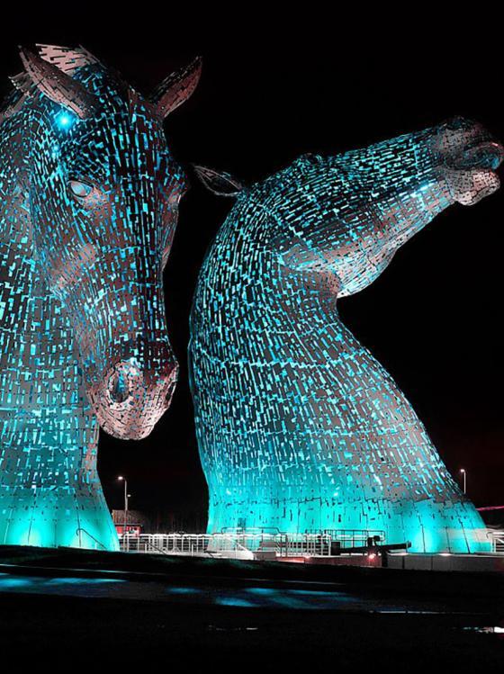 The Kelpies lit blue for World Parkinson's Day