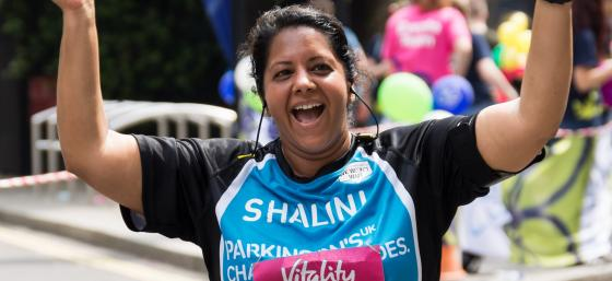 Shalini running the London 10,000 for Parkinson's UK