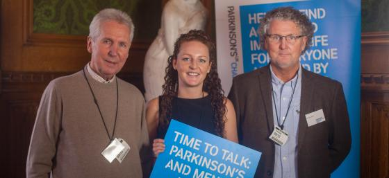 Gary Berry who lives with Parkinson's and his father Ernest and daughter Amy at the 2017 Parkinson's UK Parliamentary reception