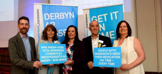 People with Parkinson's, health professional and Welsh Assembly Member discuss Get It On Time campaign