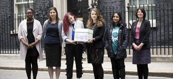 Campaigners handing in the prescription charges petition to Downing street