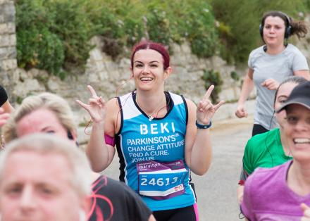 Beki runs the Bournemouth Marathon for Parkinson's UK