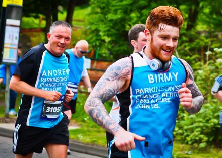 Andrew and Birmy running Edinburgh Marathon for Parkinson's UK