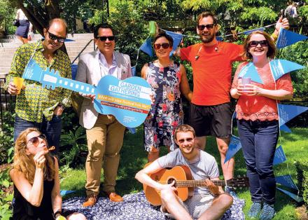 Family enjoying Garden Gathering with Parkinson's UK decor