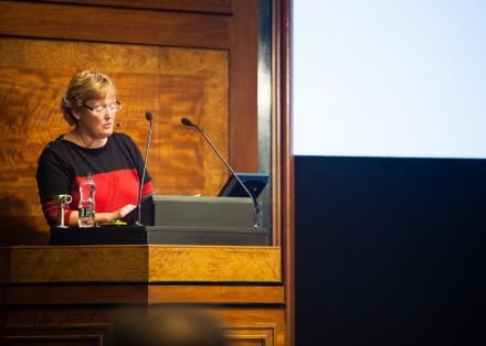 Lesley Gosden speaks at the London 2018 research lecture