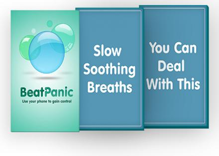 The Beat Panic app shown across three screens