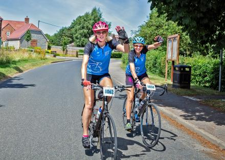 Two cyclists riding in Pedal for Parkinson's Stratford 2018