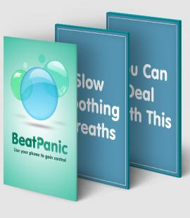 The app Beat Panic shown across two screens